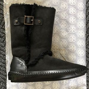 TORY BURCH boho suede shearling buckle boots